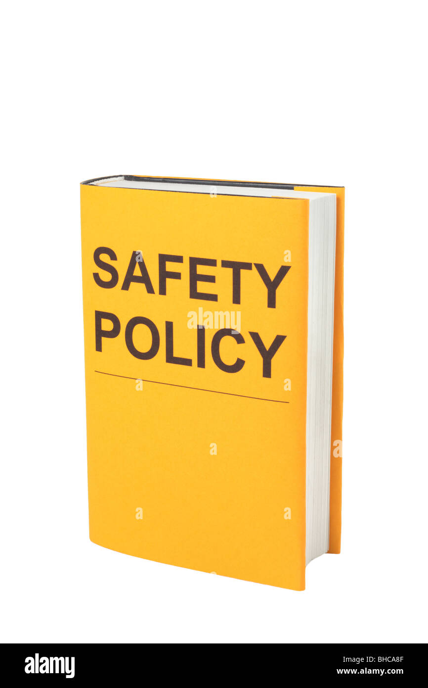 Book with orange cover that says Safety Policy. - Stock Image