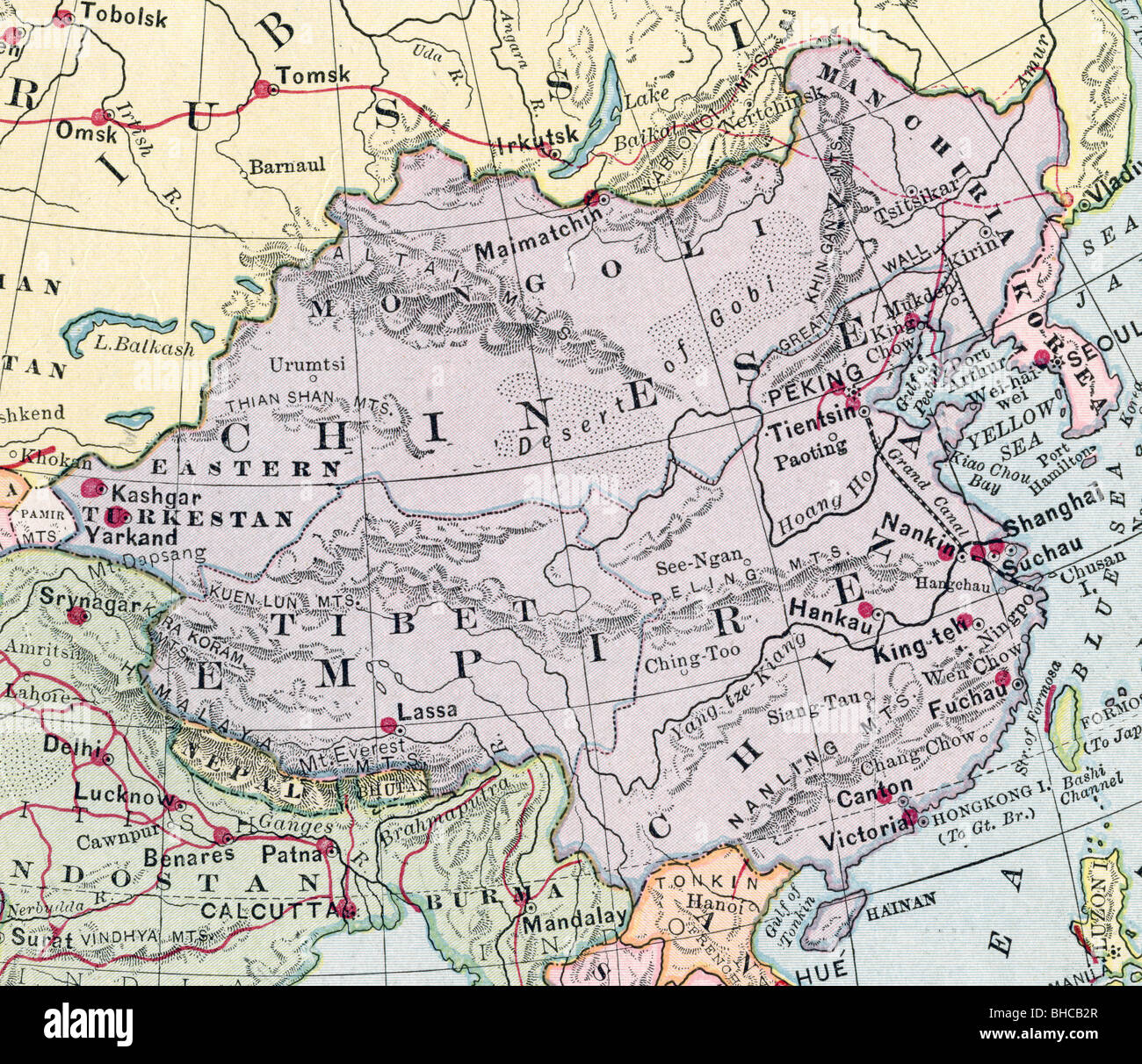 Old map china empire stock photos old map china empire stock original old map of china empire from 1903 geography textbook stock image gumiabroncs Image collections