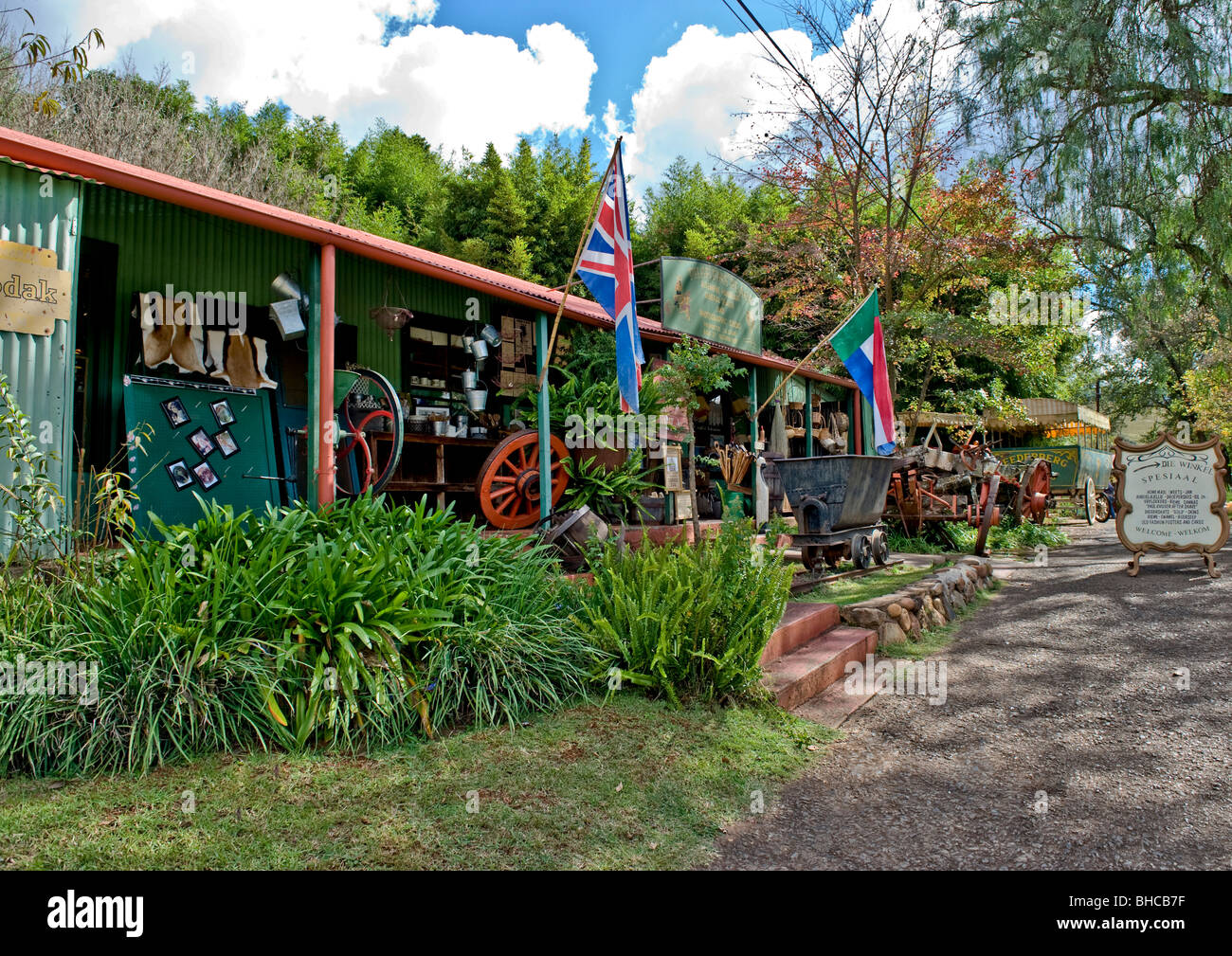 A unique general store almost like museum displaying articles of exquisite mementos of bygone era in Pilgrims Rest - Stock Image