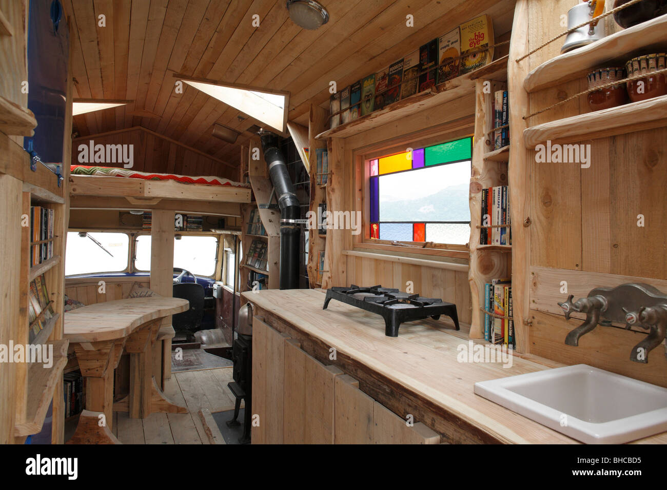 Heather and Ivan Morison's sci-fi library in a wooden trailer Stock Photo