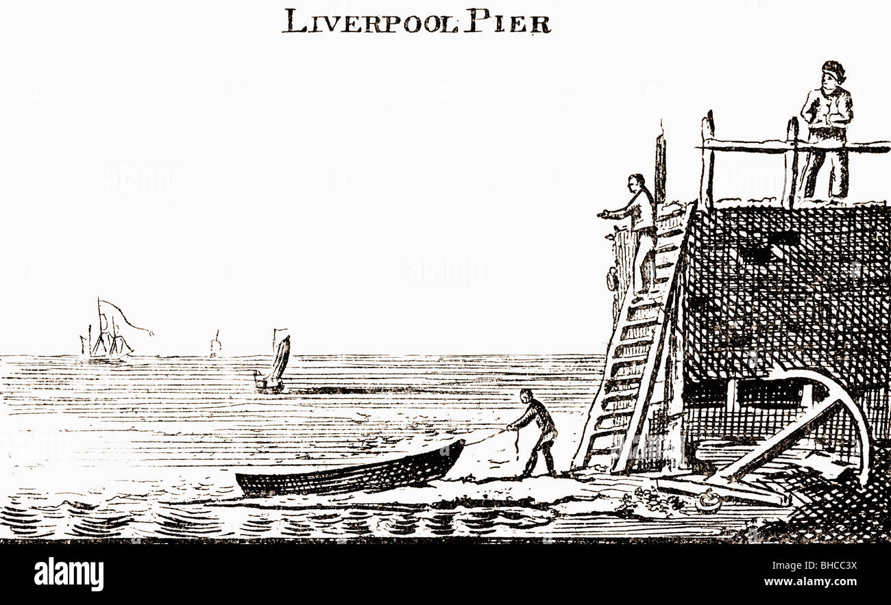 Liverpool Pier. Illustration by George Cruikshank from the book The Connoisseur Illustrated published 1903. - Stock Image