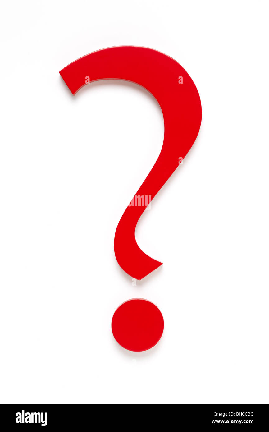 Red Question Mark, Shot from Above - Stock Image