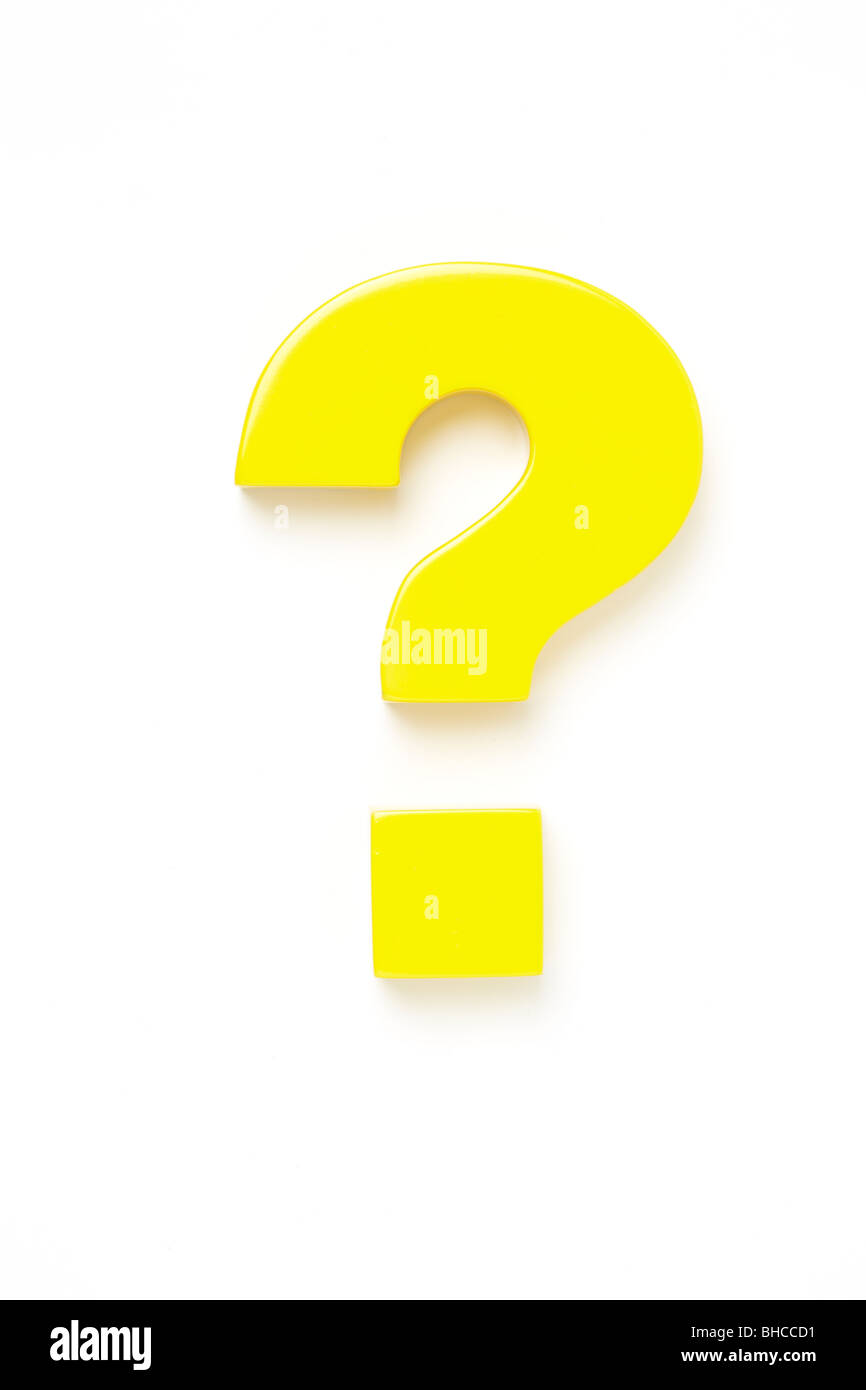 Yellow Question Mark, Shot from Above - Stock Image