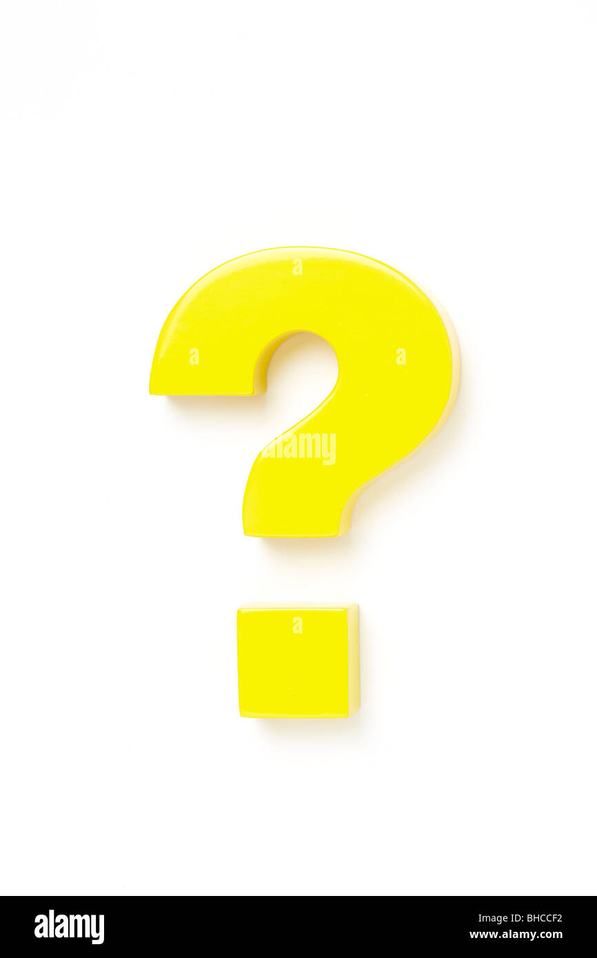 Yellow Question Mark, Shot from Above Right - Stock Image