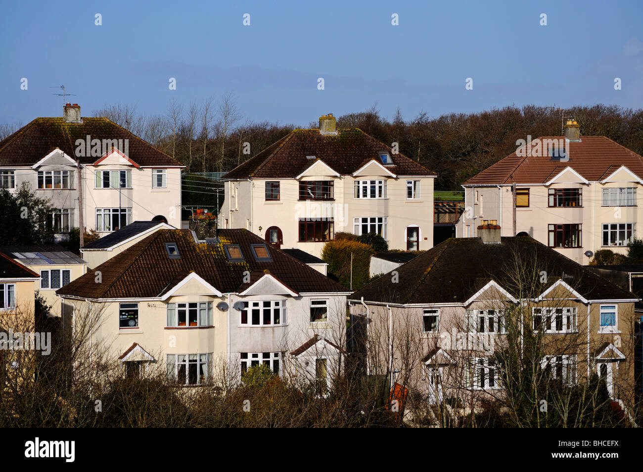 1950's semi detached houses in truro, cornwall, uk - Stock Image