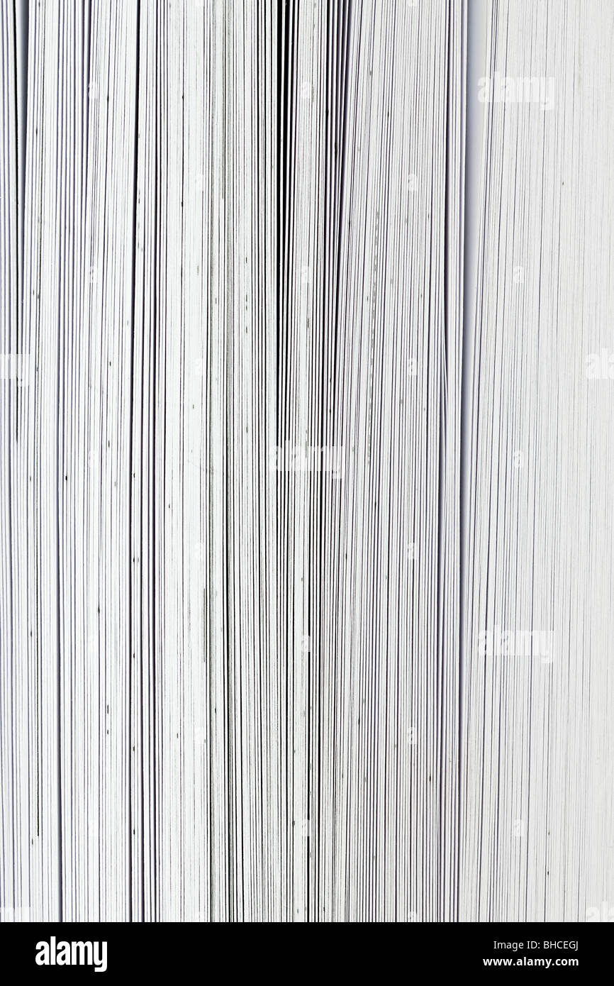 Extreme close-up of pages in a big book - Stock Image