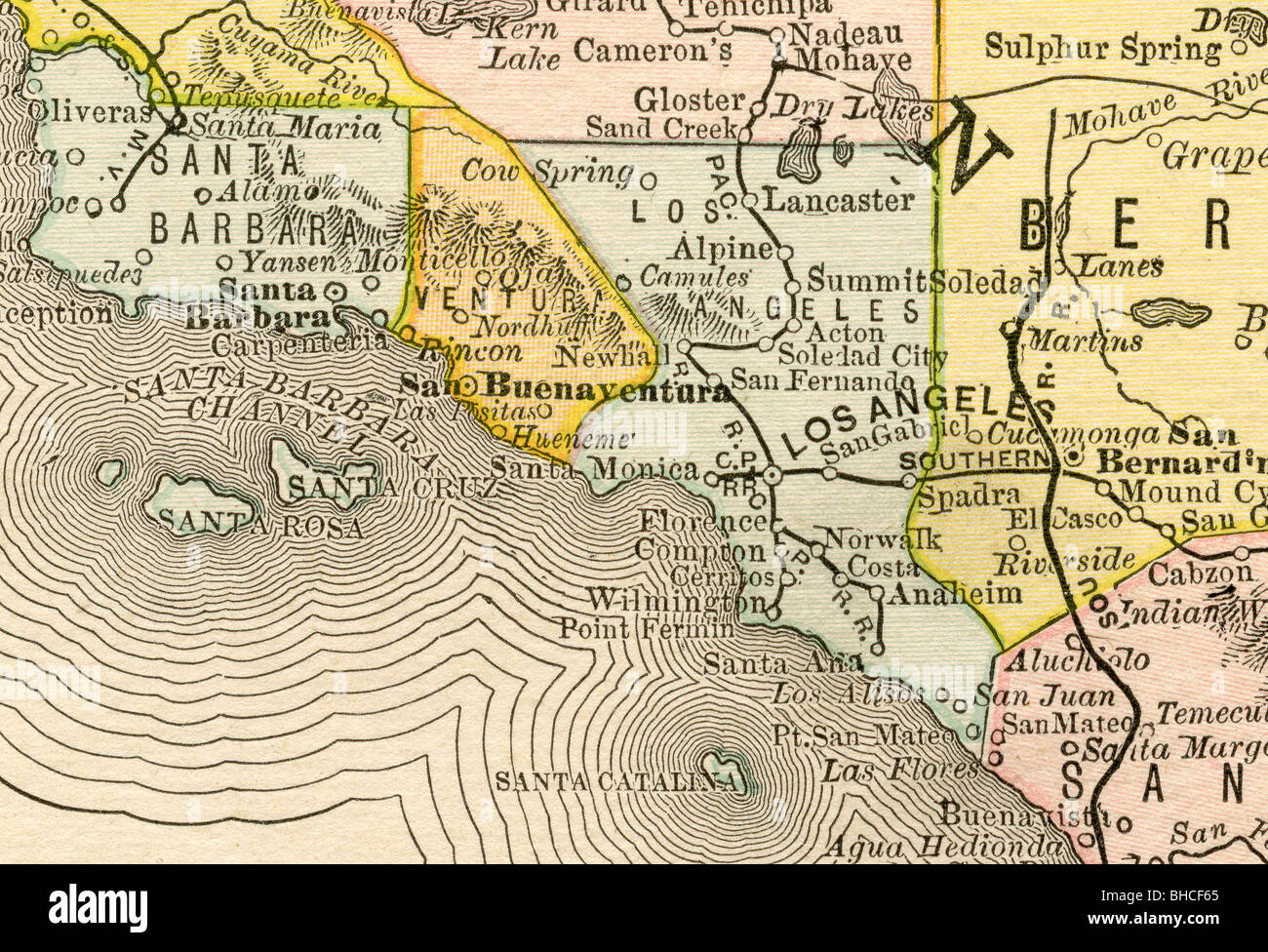 Original old map of Los Angeles area from 1884 geography textbook ...