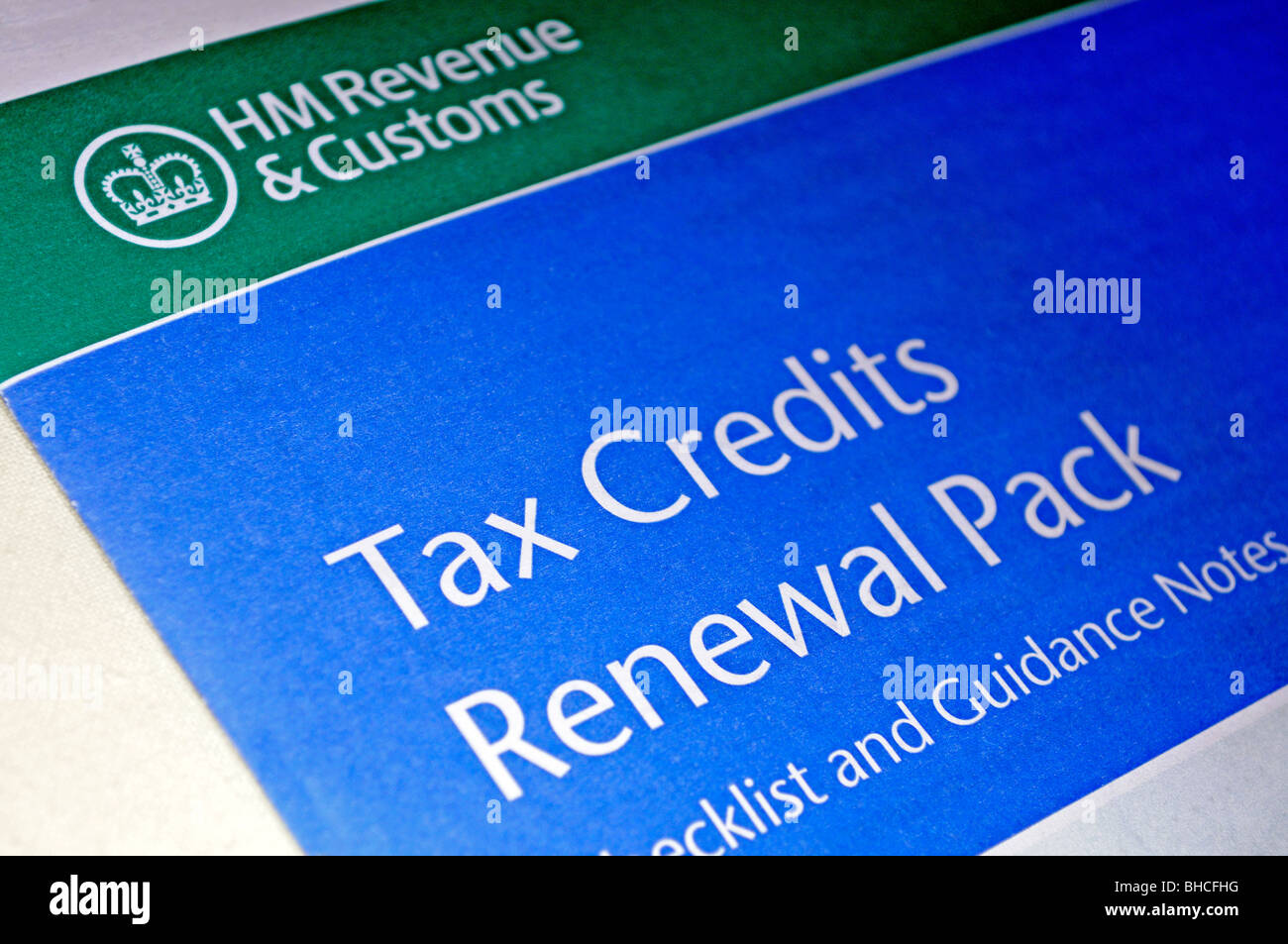 the hmrc  revenue tax credits renewal pack - Stock Image