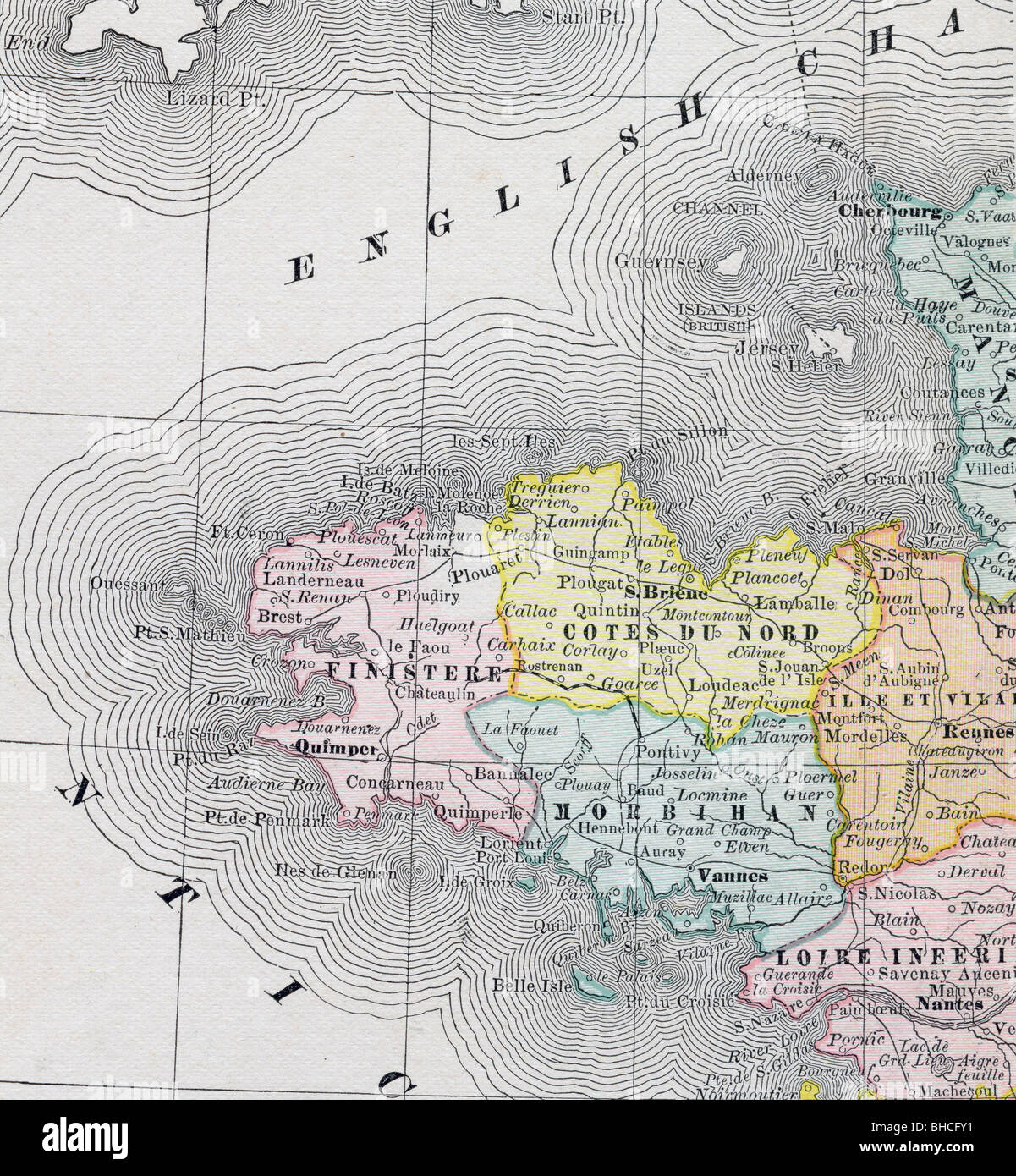 Brittany On Map Of France.Old Map Of Brittany Stock Photos Old Map Of Brittany Stock Images