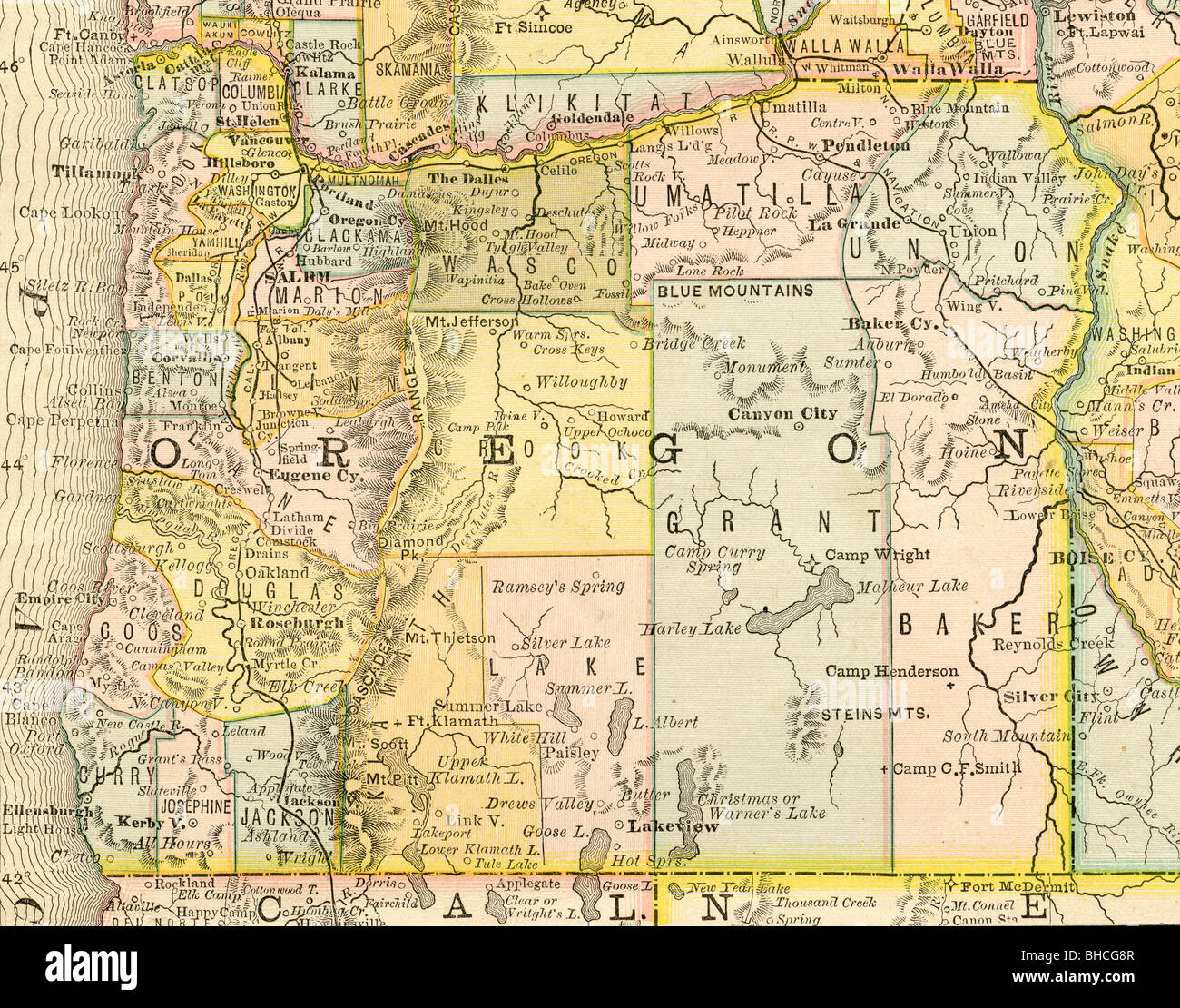 Original old map of Oregon from 1884 geography textbook Stock Photo