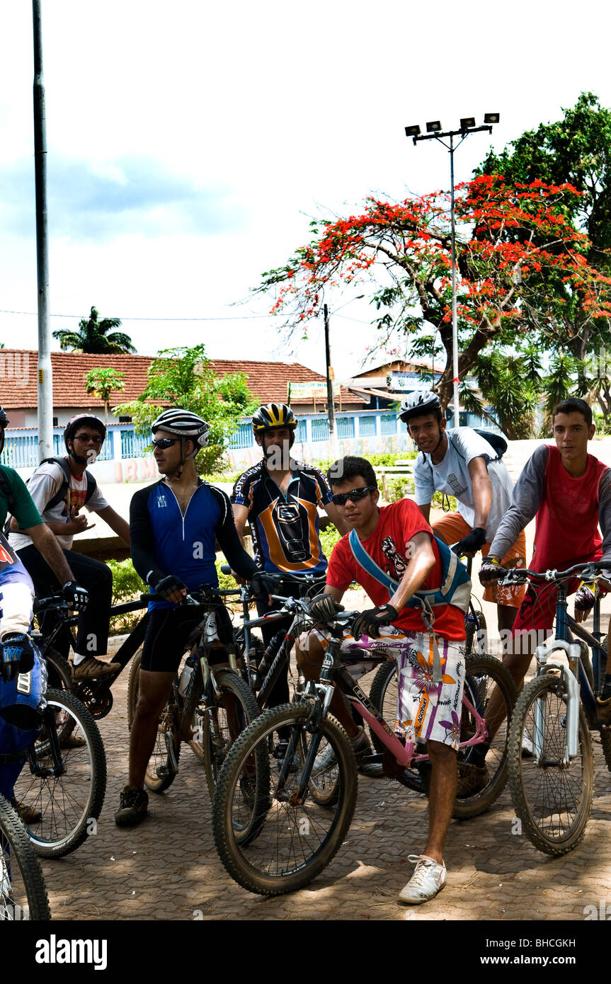 Cyclers on a weekend trip in Goias state, Brazil. - Stock Image