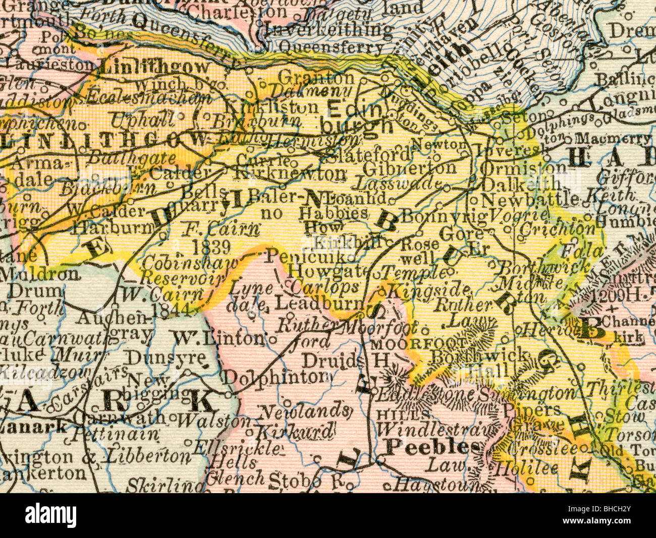Original old map of Edinburgh County (Scotland) from 1884 geography