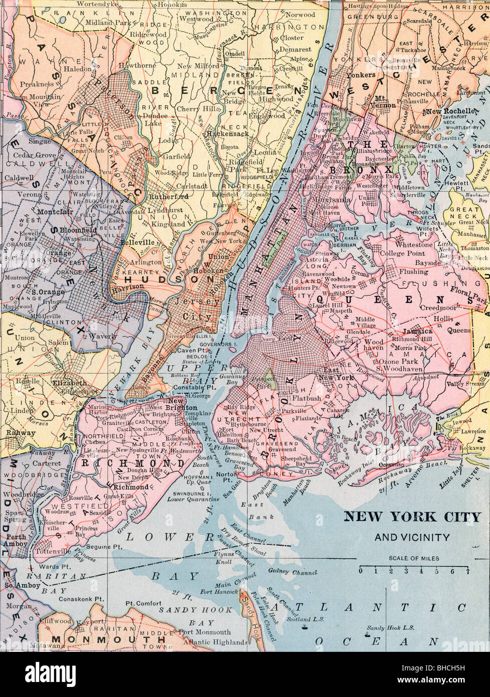 Old Map Of New York.Original Old Map Of New York City From 1903 Geography Textbook Stock