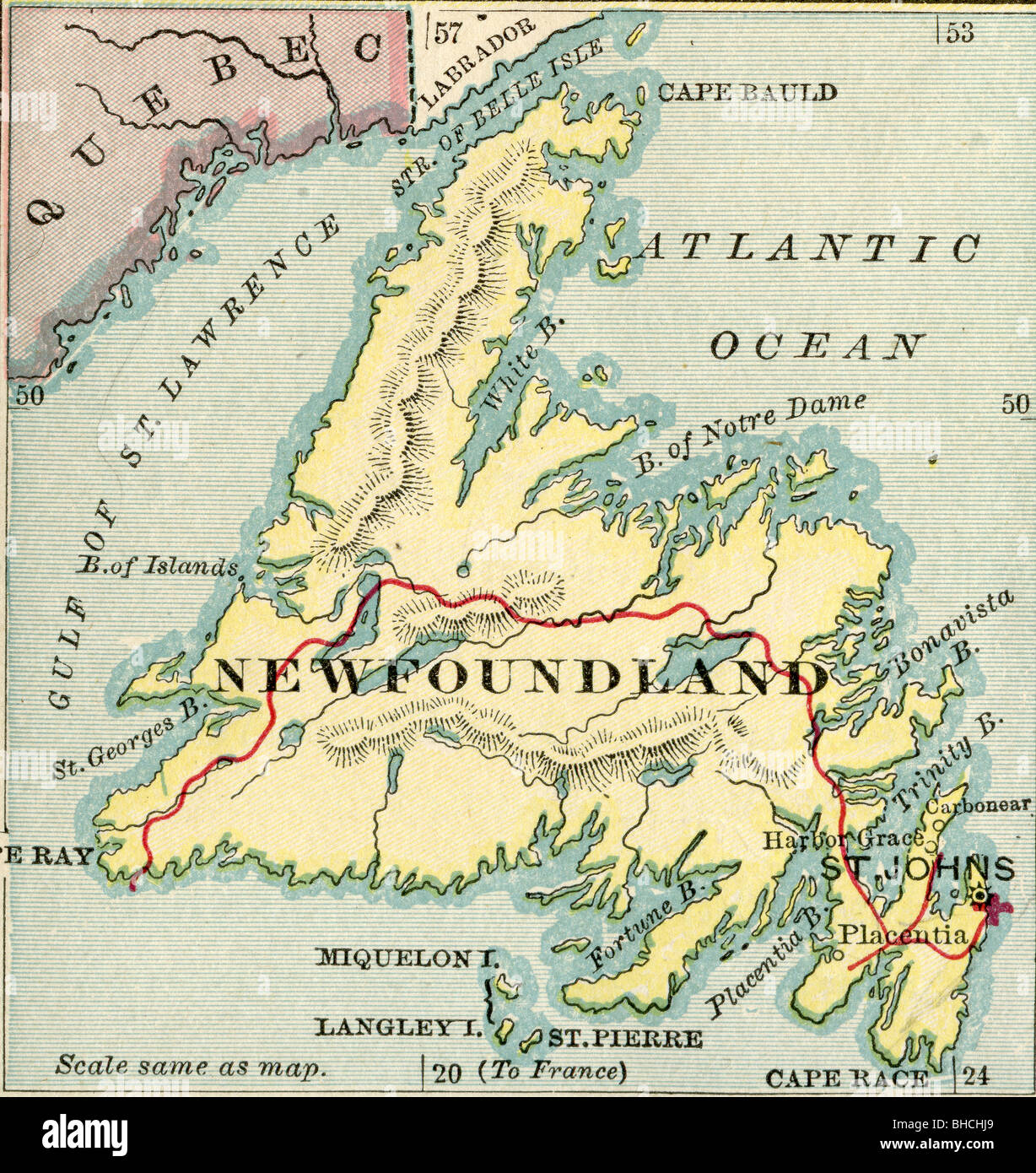 Original old map of Newfoundland from 1903 geography textbook - Stock Image