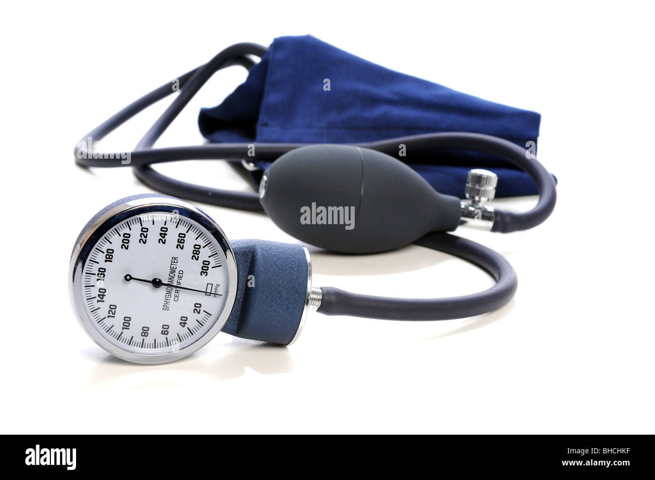 Blood Pressure devise with selective focus isolated over white background - Stock Image