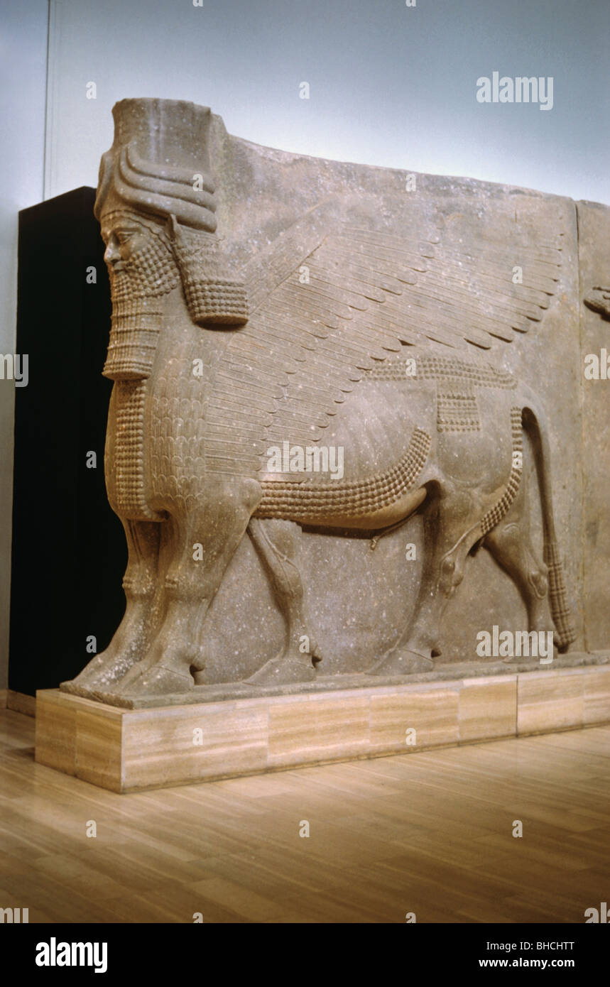 Orthostat--human headed, winged, five-legged horse with extra toes, c.710 BC, from Khorsabad, Baghdad Museum, Iraq Stock Photo