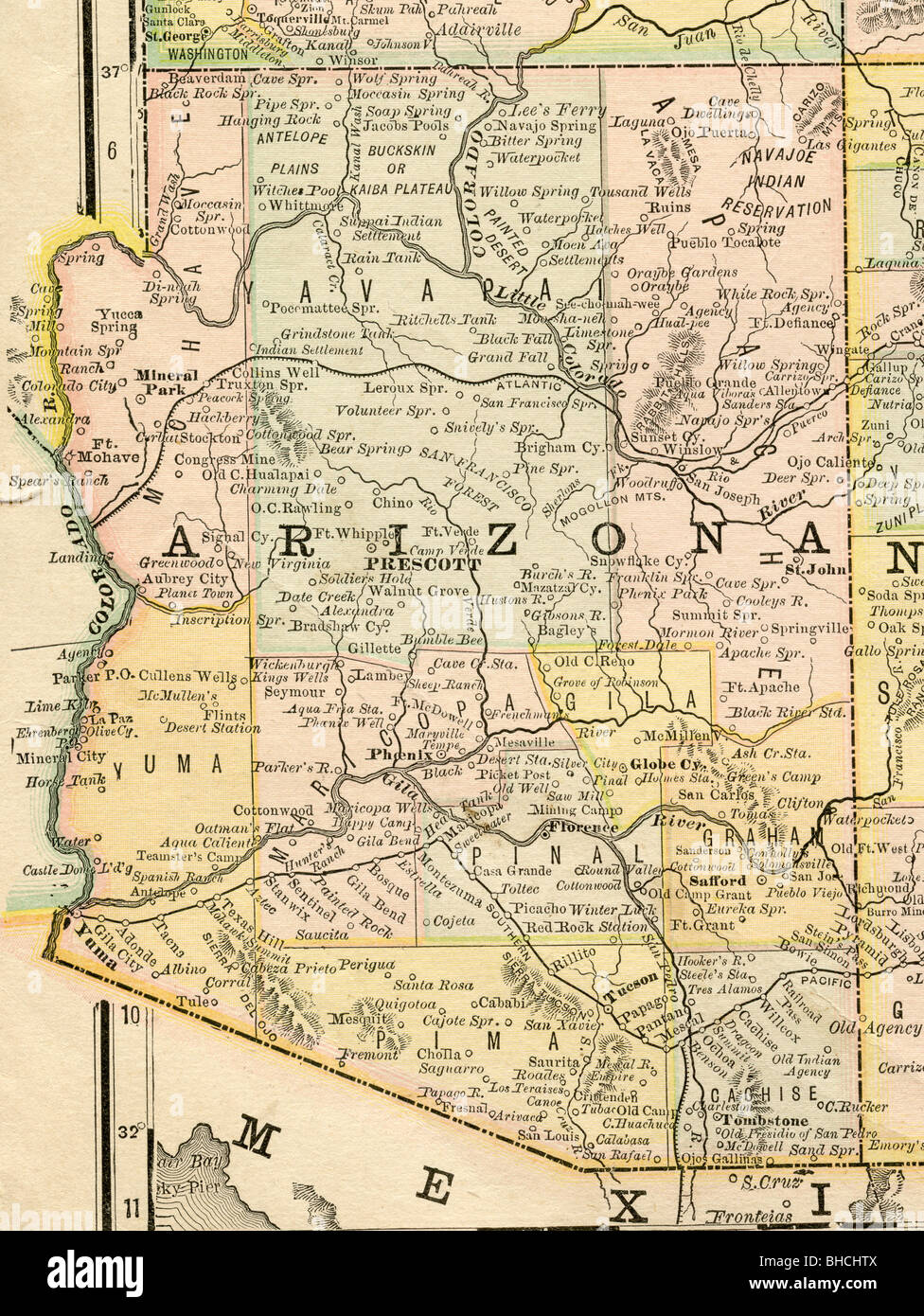Map Of Old Arizona.Original Old Map Of Arizona From 1884 Geography Textbook Stock Photo