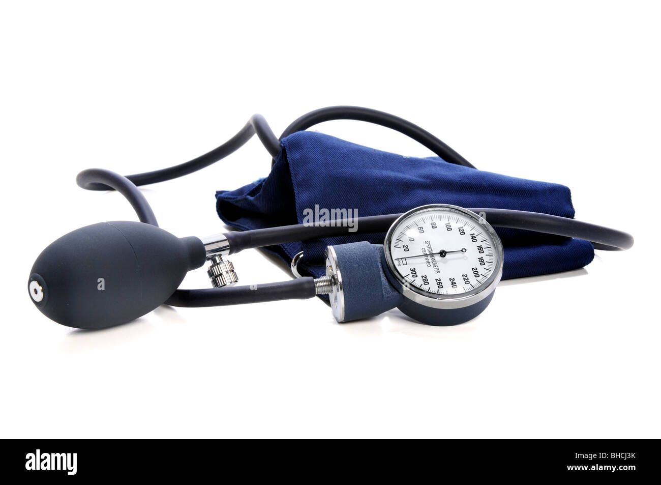 Sphygmomanometer over white background - Stock Image