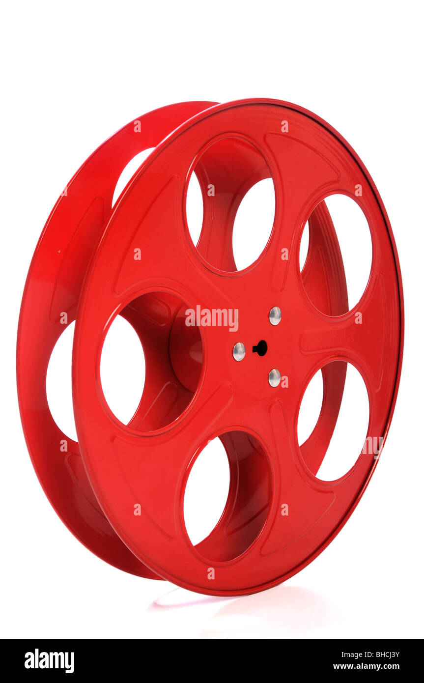 Empty red movie reel isolated over white background - Stock Image