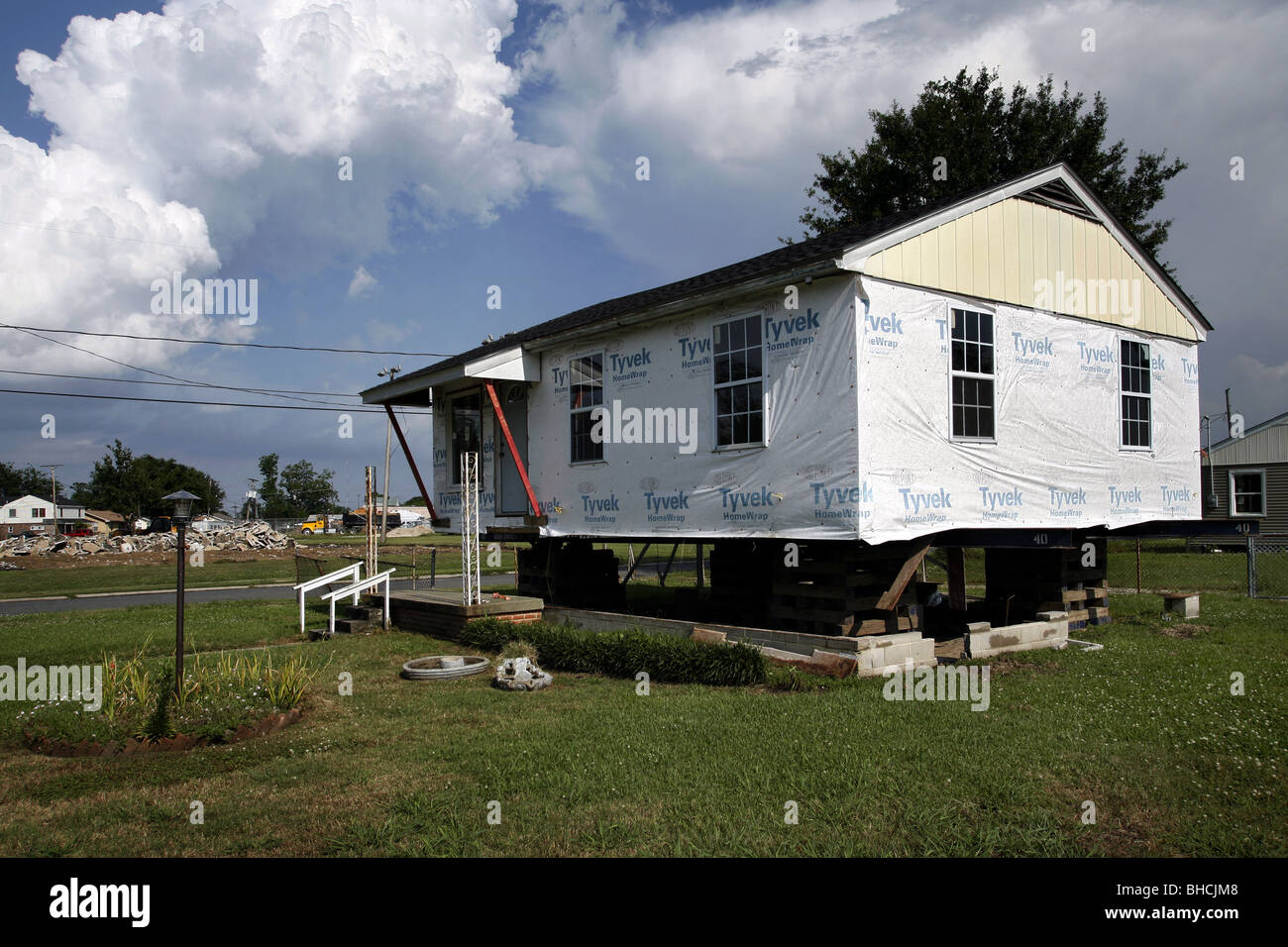 Home Under Construction, Lower 9th Ward, New Orleans, Louisiana, USA - Stock Image