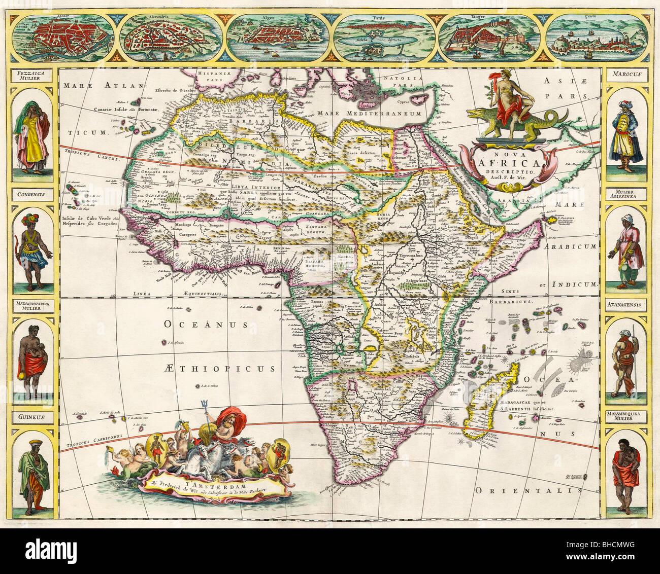 Map of Africa in the 17th century. Nova Africa Descriptio