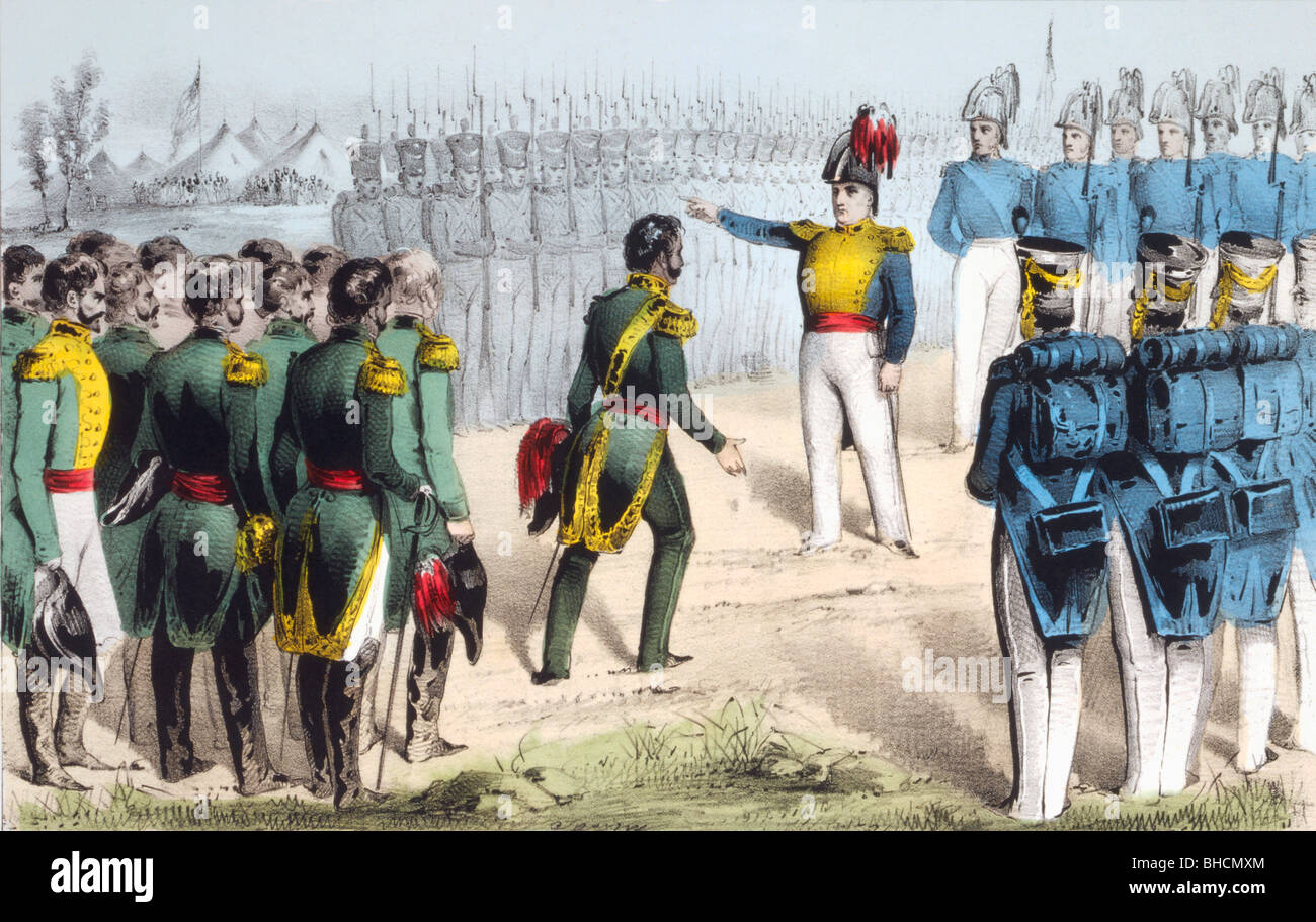 After the Battle of Monterrey Mexican General Pedro de Ampudia surrenders the city to American General Zachary Taylor - Stock Image