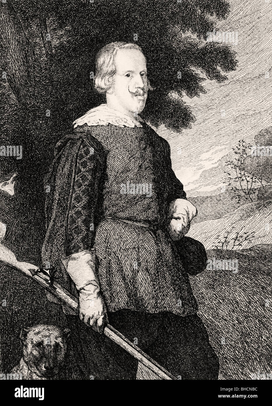 Felipe IV King of Spain in hunting costume. 19th century engraving after Diego Velázquez. - Stock Image