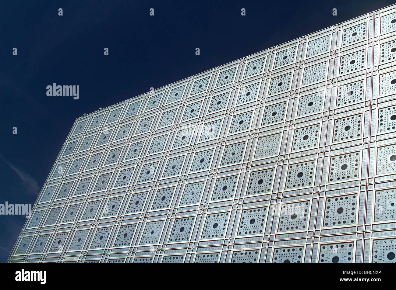 The Institut du Monde Arabe (IMA) or Arab World Institute (AWI). Paris - Stock Image