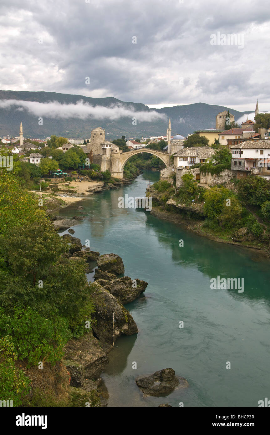 Historic Old Town of Mostar and Bridge at Neretva River Bosnia and Herzegovina - Stock Image
