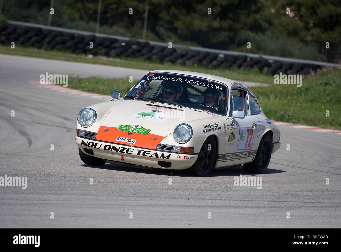 White 1966 Porsche 911S Classic Sports Car Racing In A Rally Spain
