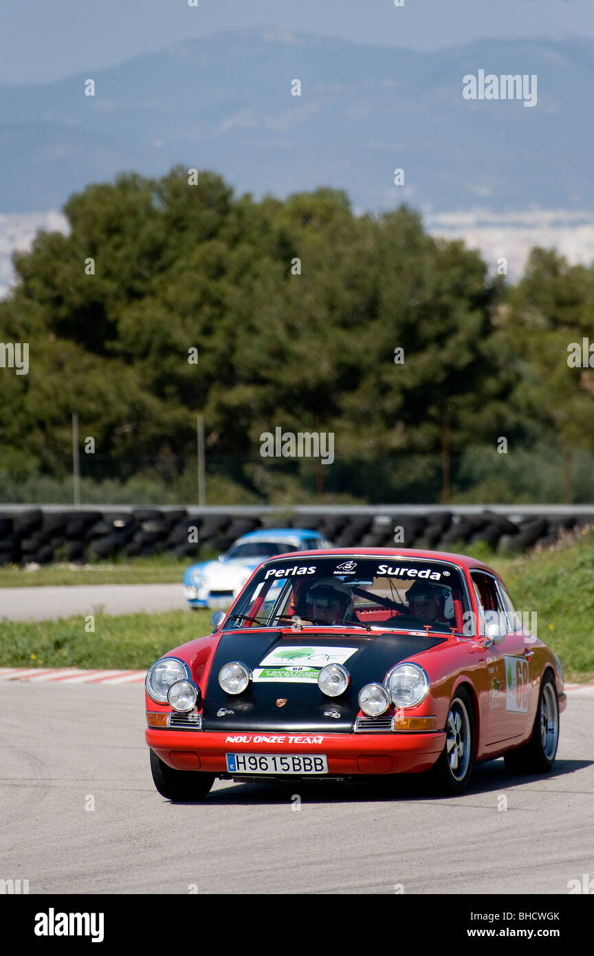 Red 1967 Porsche 911S Classic Sports Car Racing In A Rally Spain