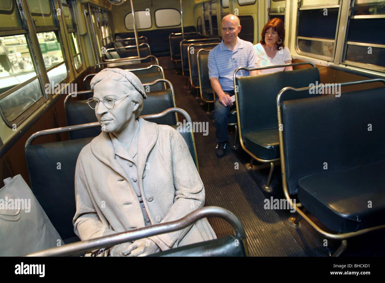 Rosa Parks Bus Boycott Exhibit, National Civil Rights Museum, Memphis, Tennessee, USA Stock Photo