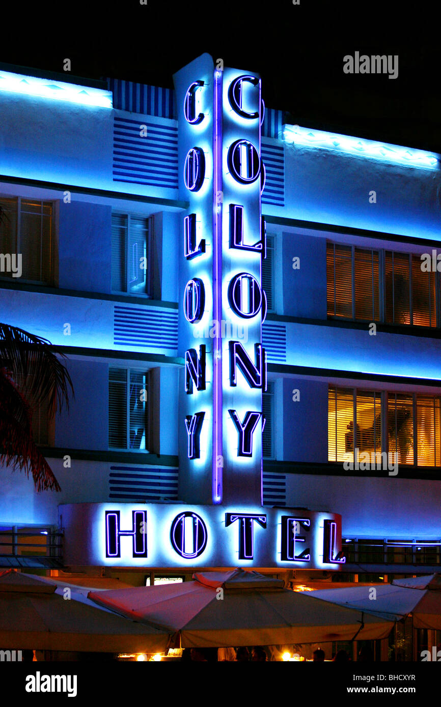 Colony Hotel, Ocean Drive, South Beach, Miami, Florida, USA - Stock Image