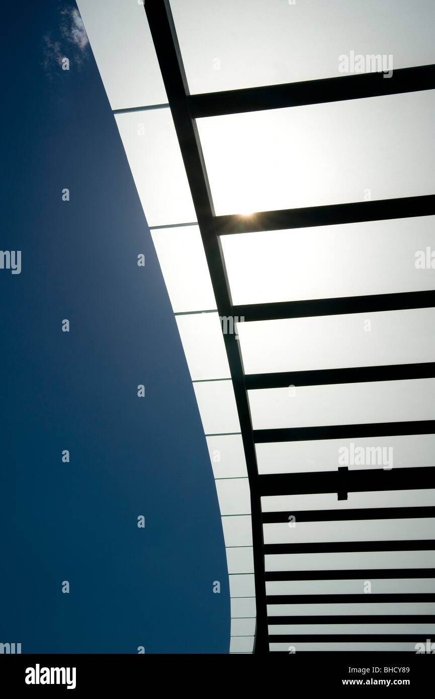 sun shade sail structure - Stock Image