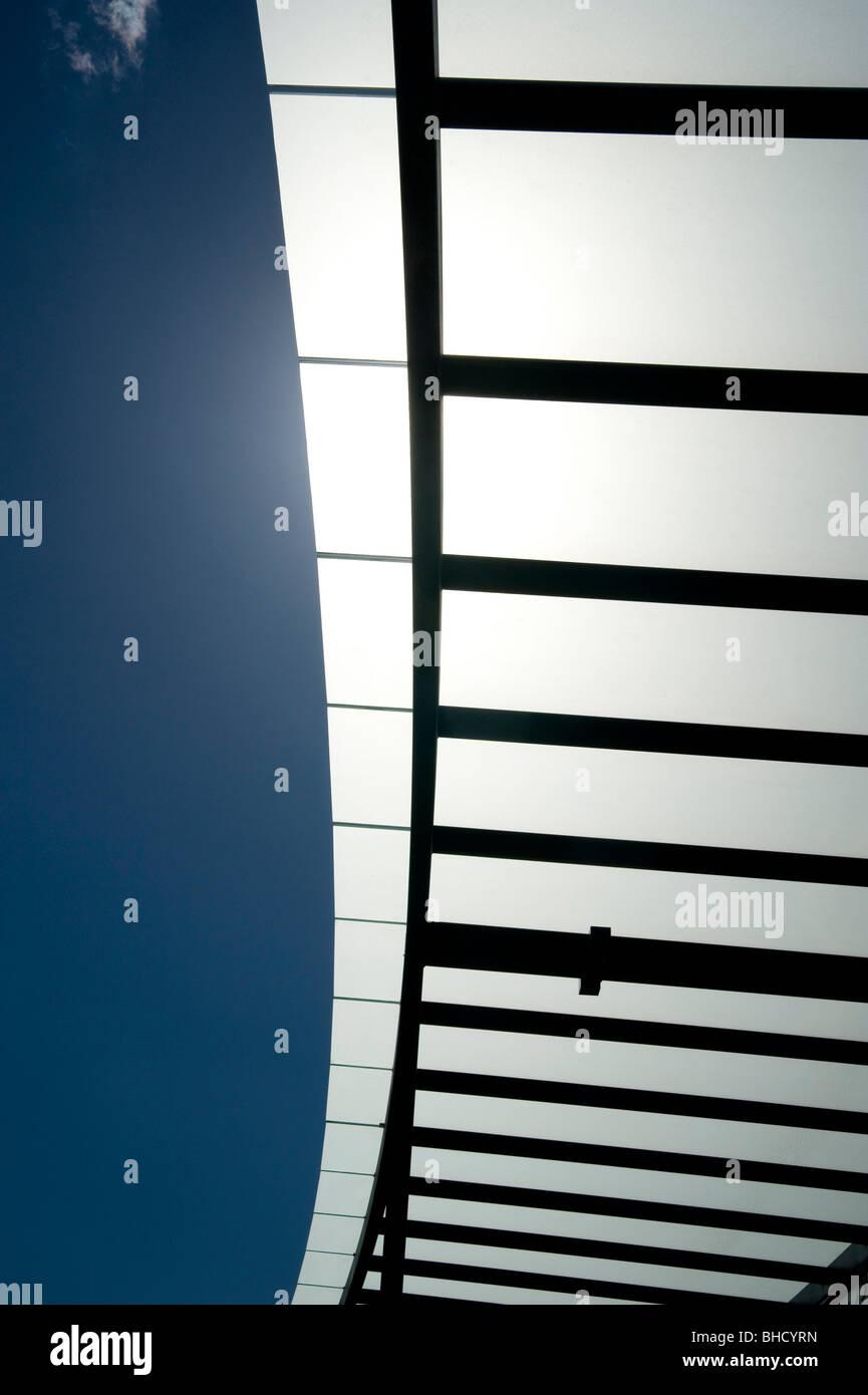 sun shade sail structure Stock Photo
