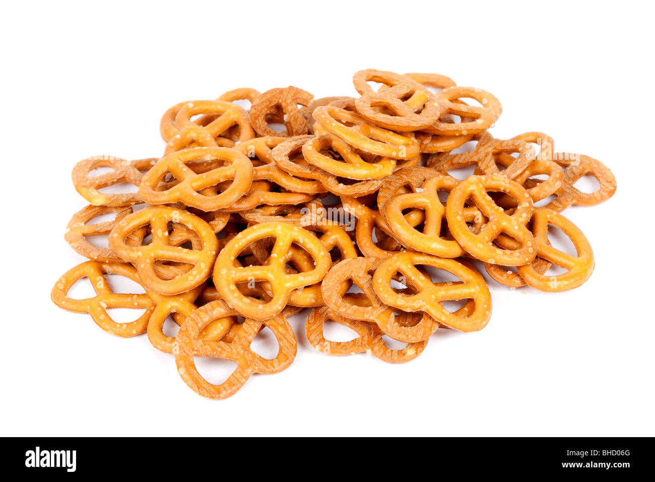 Close up of a pile of delicious mini pretzels - Stock Image