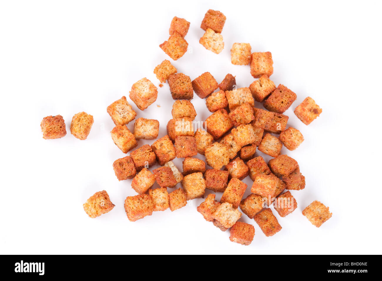 Close up of delicious croutons isolated on white background - Stock Image