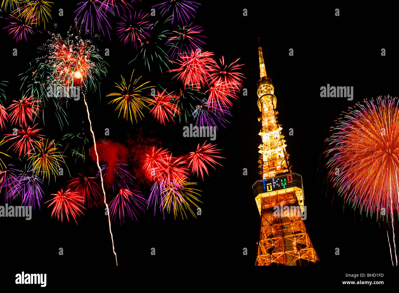 Fireworks display above Tokyo Tower, Minato-ku, Tokyo, Japan Stock Photo
