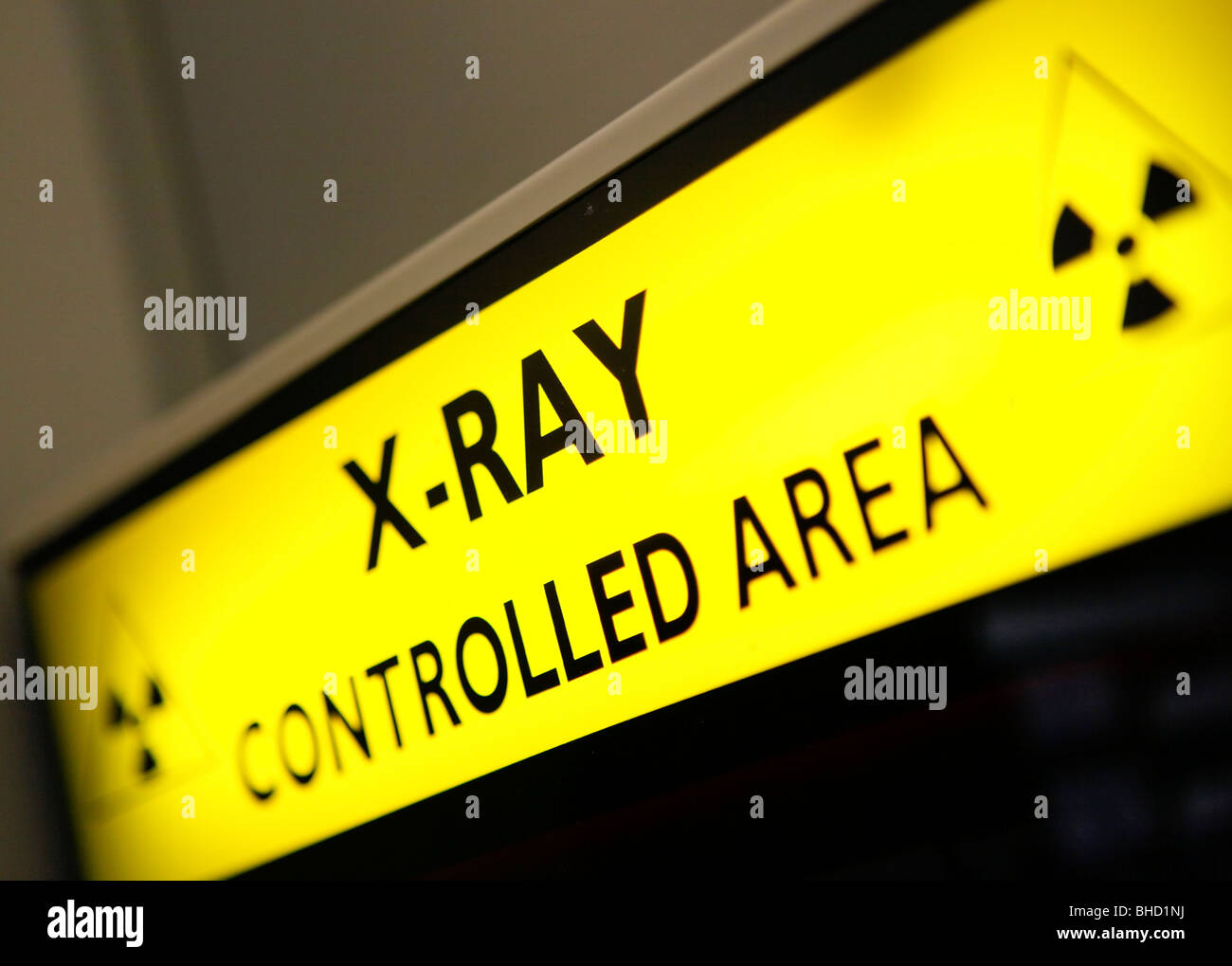 Xray sign, controlled area in an NHS hospital. - Stock Image