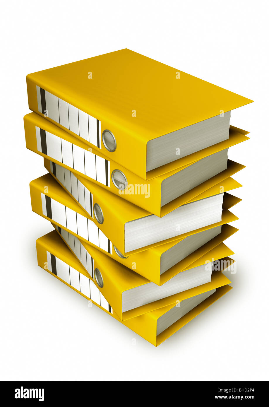 Stacked Yellow Lever Arch Files on White Background - Stock Image