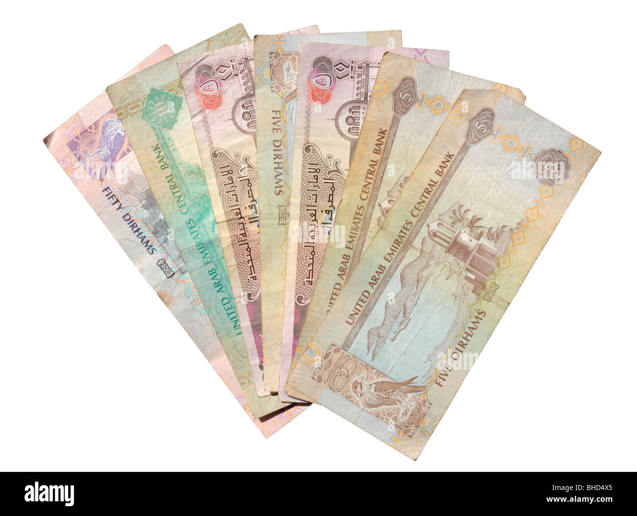 Dirhams Isolated Over White Background Currency From The United Arab Emirates Stock Image