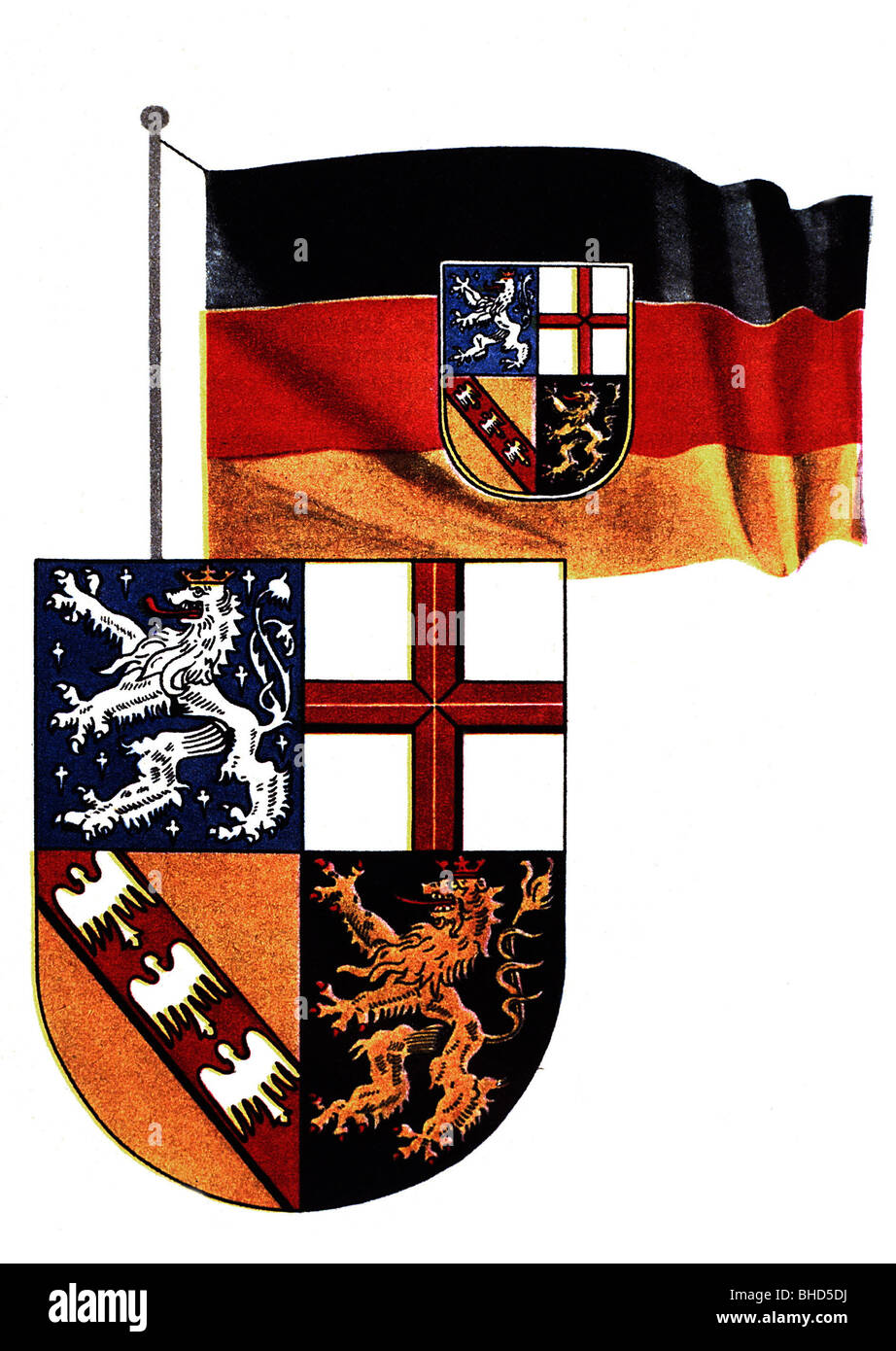 coat of arms, Germany, Saarland, flag and coat of arms since 1956, FRG, heraldry, lion, cross, former coat of arms - Stock Image