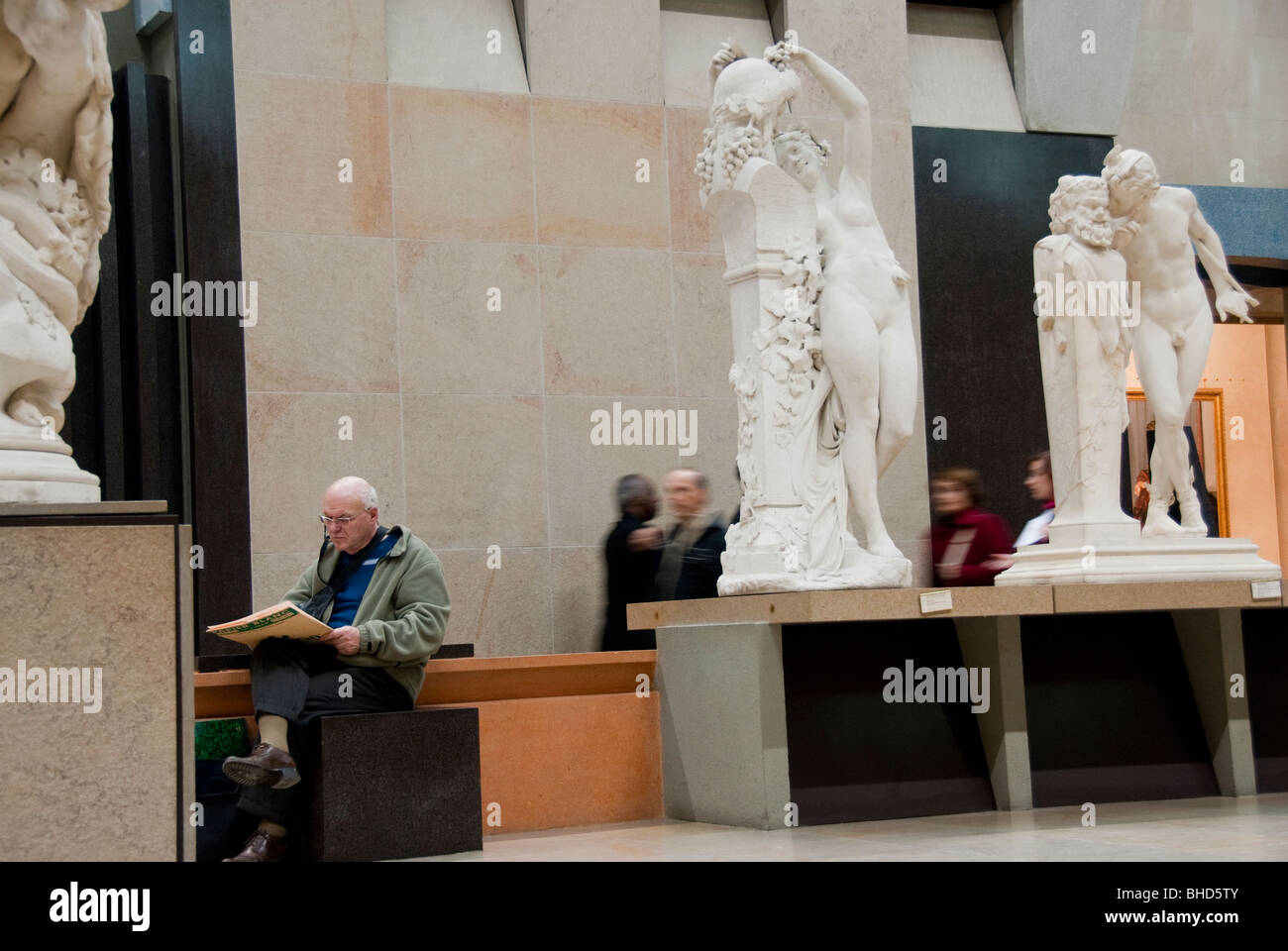 Paris, France, French Monuments, Art Museum, Musee d'Orsay, Old Man Drawing Sculptures inside Gallery - Stock Image