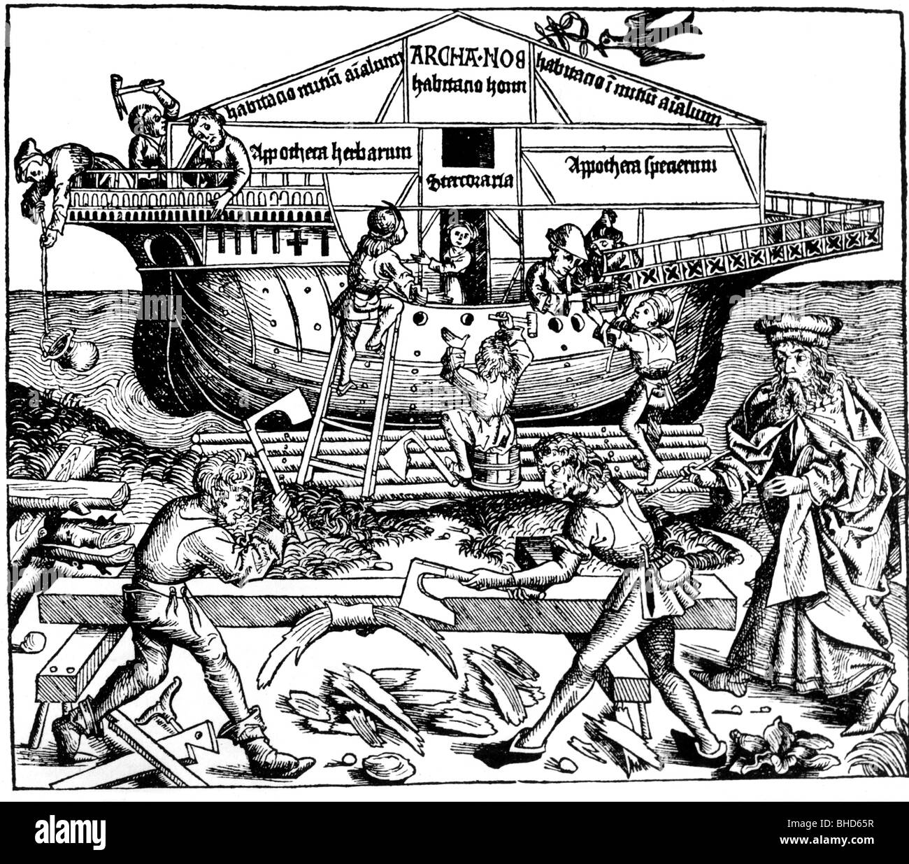building the ark stock photos building the ark stock images alamy Nave Chartres Cathedral religion biblical scenes noah and his sons building the ark woodcut nuremberg