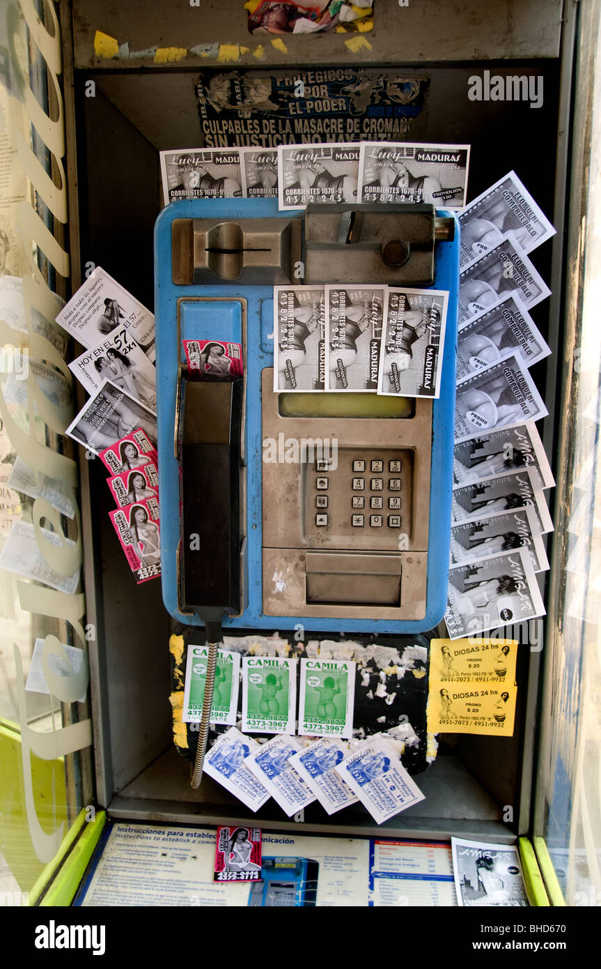 Buenos Aires Phone booth box kiosk telephone Argentina Town City - Stock Image