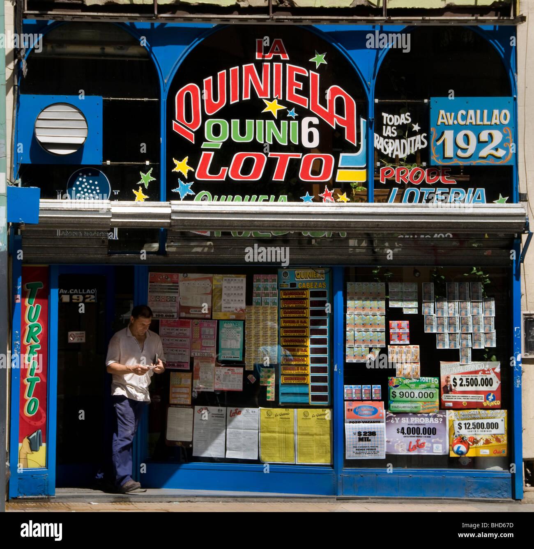 Buenos Aires  lottery gamble gambling gambler Argentina Town City - Stock Image