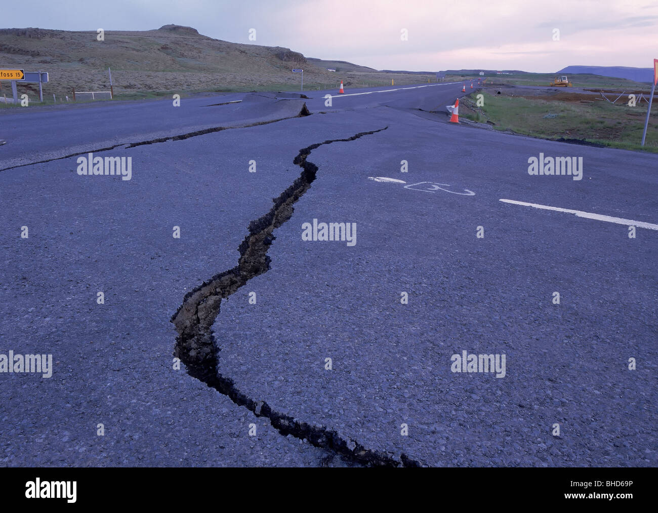 Damage in road from earthquakes, Iceland - Stock Image