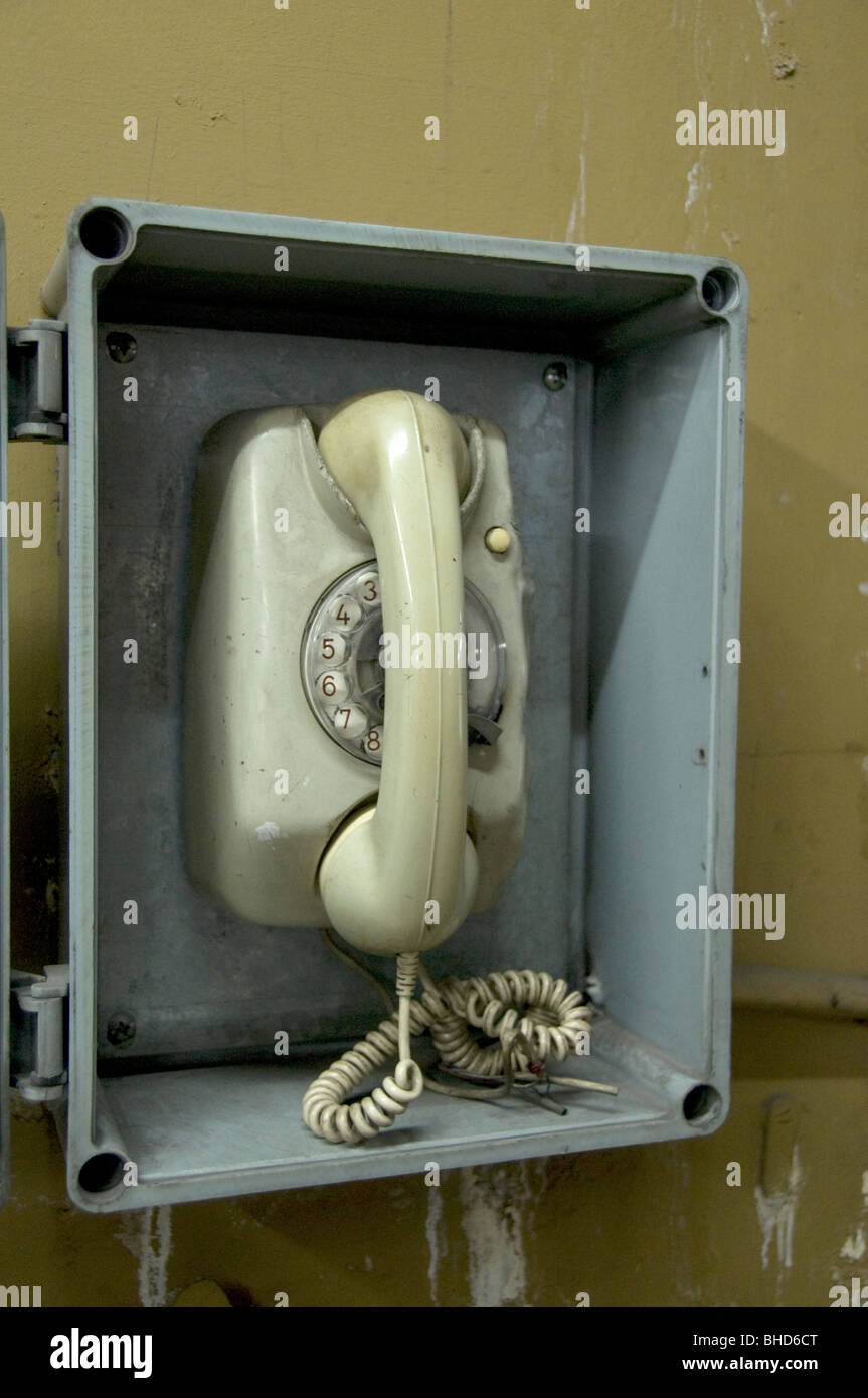 Old Phone telephone Buenos Aires underground tube subway train Argentina Town City - Stock Image