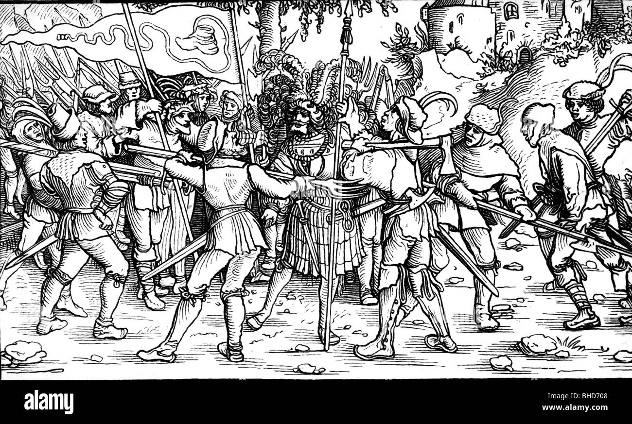 events, German Peasants' War, 1524 - 1526, knight captured by paesants,  woodcut by Hans Leonhard Scheuflin, 16th century, ,  Additional-Rights-Clearances-NA