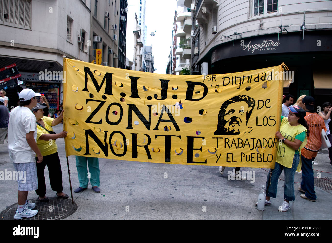 Demonstration protest march Zona Norte Buenos Aires Argentina Town City - Stock Image